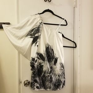 Peacock Feather Style One Shoulder Dress